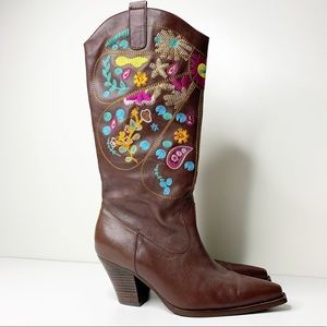 Two Lips embroidered brown cowboy boots